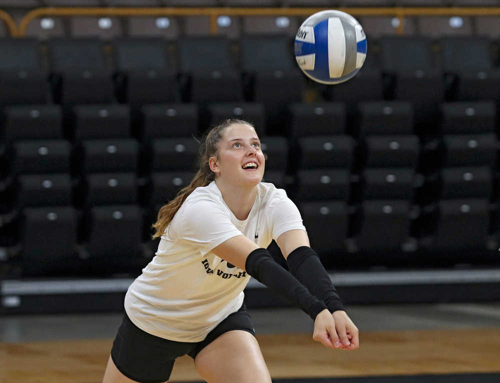 Iowa's Edina Schmidt (20) during Iowa Volleyball's Media Day at Carver-Hawkeye Arena in Iowa City on Friday, Aug 23, 2019. (Stephen Mally/hawkeyesports.com)