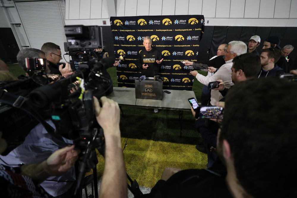 Iowa Hawkeyes head coach Kirk Ferentz during the teamÕs final spring practice Friday, April 26, 2019 at the Kenyon Football Practice Facility. (Brian Ray/hawkeyesports.com)
