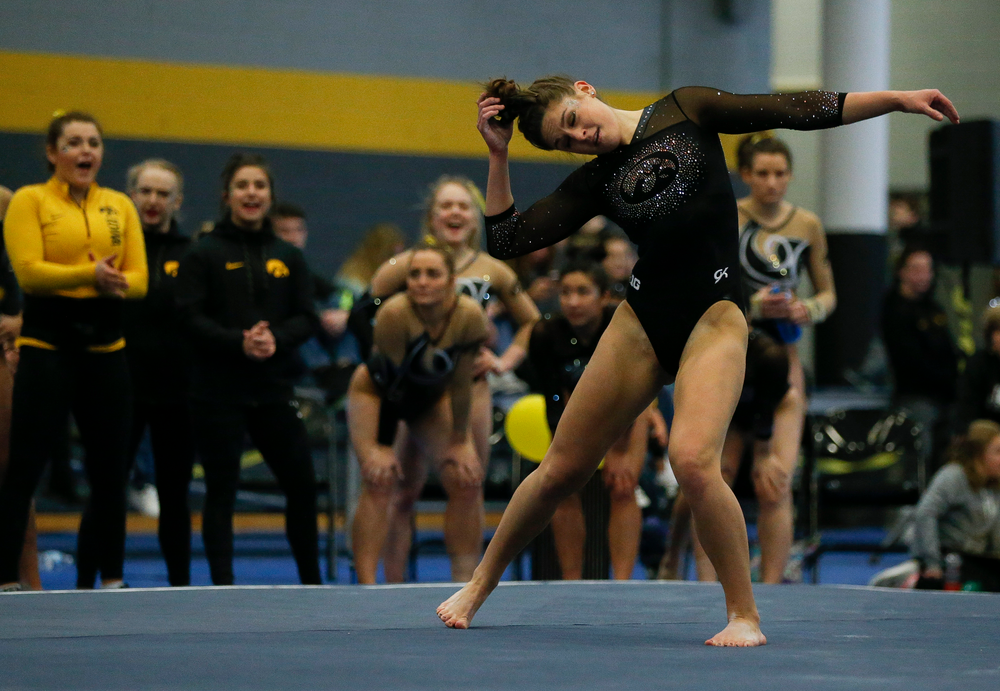 Melissa Zurawski competes in the floor exercise during the Black and Gold Intrasquad meet at the Field House on 12/2/17. (Tork Mason/hawkeyesports.com)