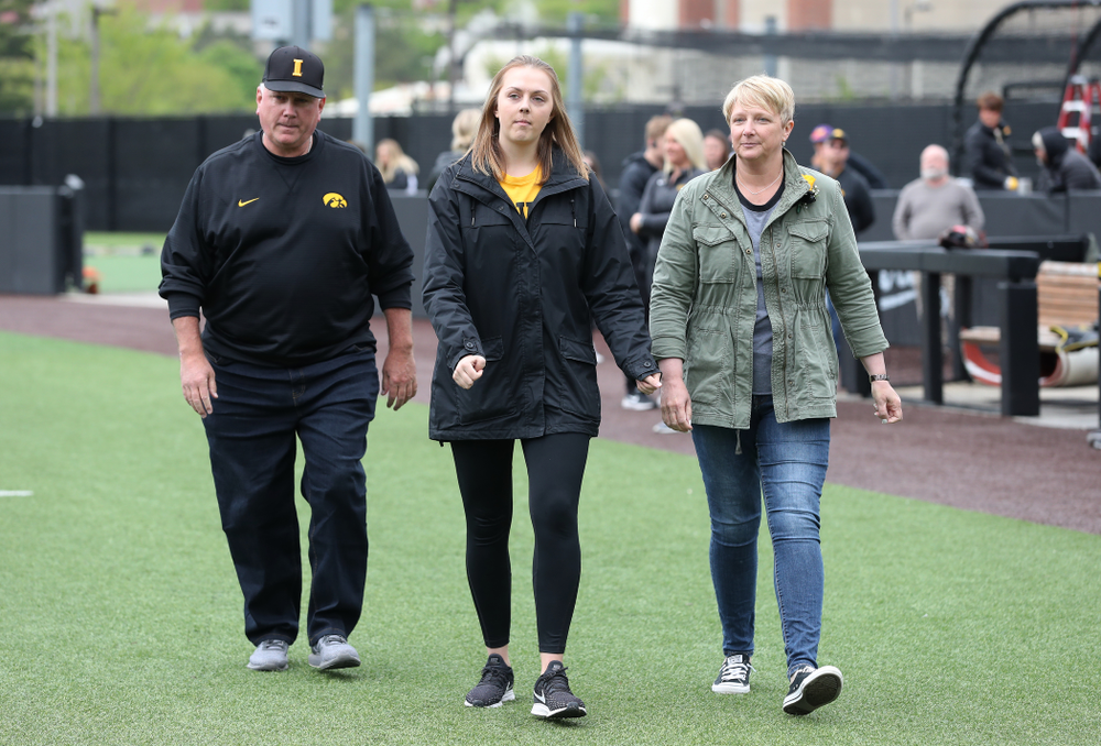 Student Manager Haley Schulte during senior day festivities before their game against Michigan State Sunday, May 12, 2019 at Duane Banks Field. (Brian Ray/hawkeyesports.com)