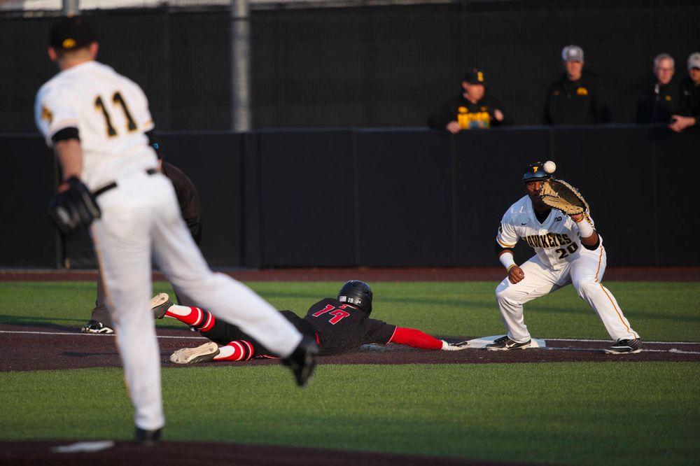 Iowa infielder Izaya Fullard  at game 1 vs Rutgers on Friday, April 5, 2019 at Duane Banks Field. (Lily Smith/hawkeyesports.com)