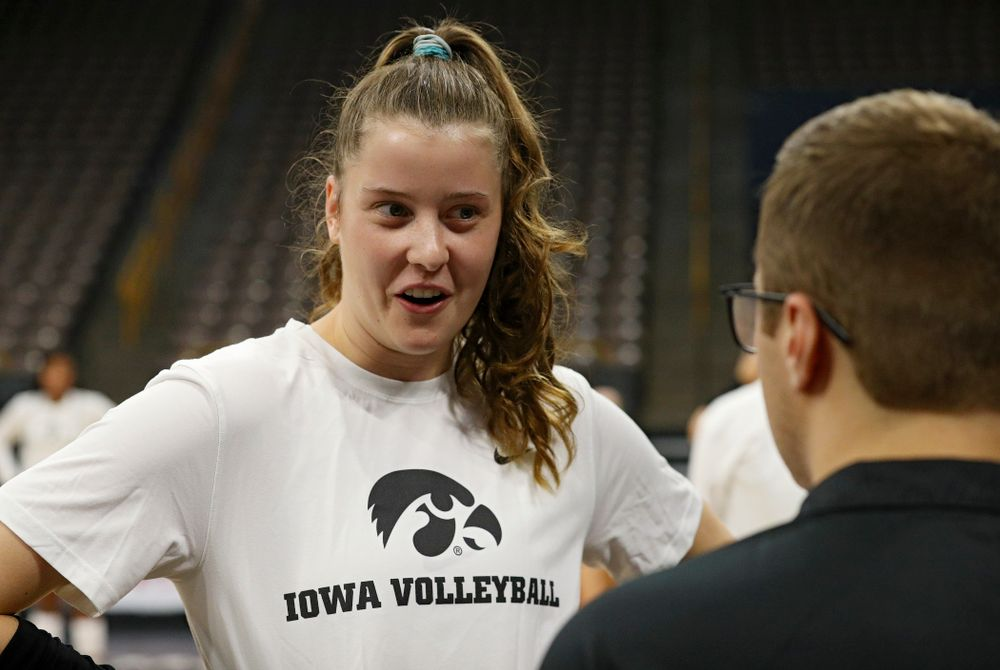 Iowa's Edina Schmidt (20) answers questions during Iowa Volleyball's Media Day at Carver-Hawkeye Arena in Iowa City on Friday, Aug 23, 2019. (Stephen Mally/hawkeyesports.com)