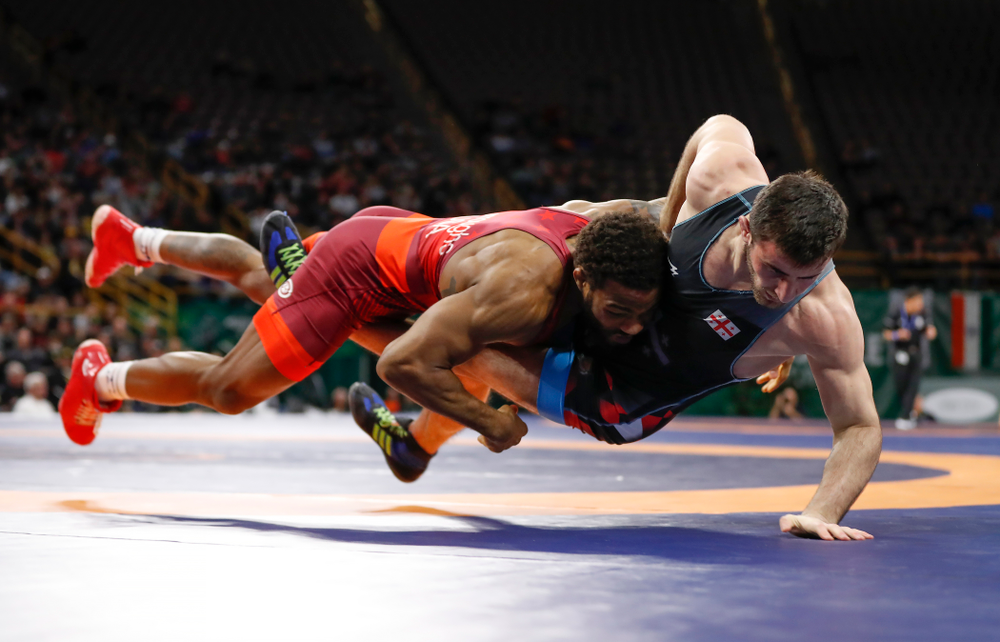 Jordan Burroughs during session three of the United World Wrestling Freestyle World Cup Sunday, April 8, 2018 at Caver-Hawkeye Arena. (Brian Ray/hawkeyesports.com)