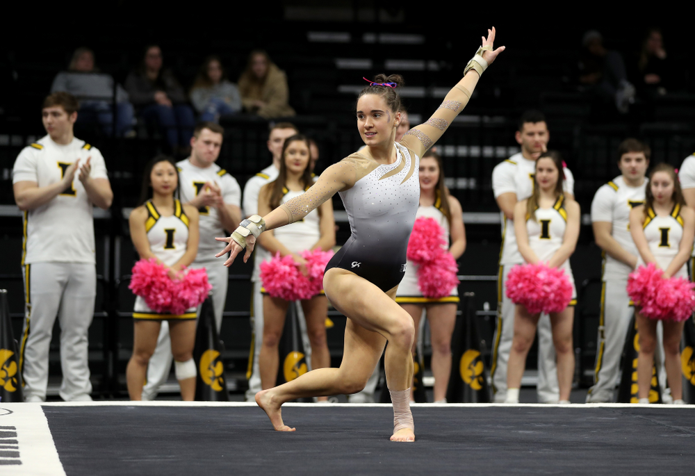 IowaÕs Allie Gilchrist competes on the floor against Ball State and Air Force Saturday, January 11, 2020 at Carver-Hawkeye Arena. (Brian Ray/hawkeyesports.com)