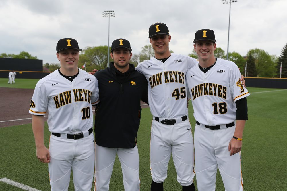 Iowa Hawkeyes Derek Lieurance (10), Grant Leonard (43), Kyle Shimp (45), and Shane Ritter (18) before their  game against Michigan State Sunday, May 12, 2019 at Duane Banks Field. (Brian Ray/hawkeyesports.com)