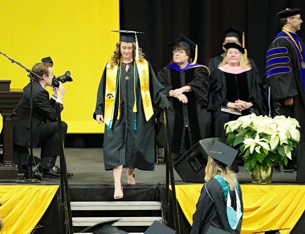 Iowa Track and Field's Lindsay Welker during the College of Liberal Arts and Sciences and University College Fall 2019 Commencement ceremony at Carver-Hawkeye Arena in Iowa City on Saturday, December 21, 2019. (Stephen Mally/hawkeyesports.com)
