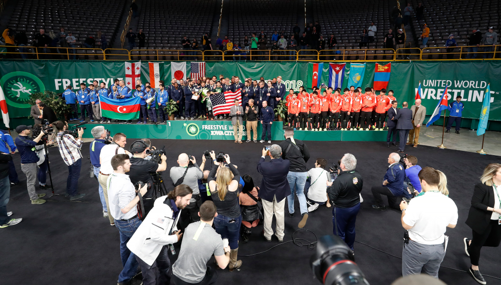 The awards ceremony of the United World Wrestling Freestyle World Cup Sunday, April 8, 2018 at Carver-Hawkeye Arena. (Brian Ray/hawkeyesports.com)