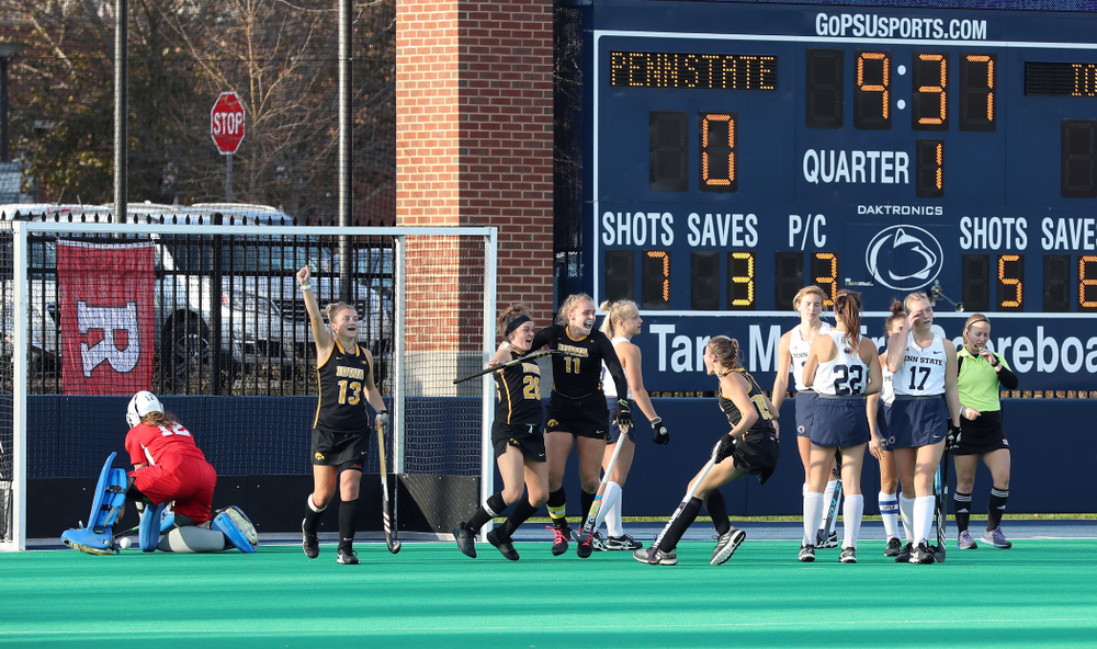 Iowa Hawkeyes forward Maddy Murphy (26) celebrates her game winning goal against Penn State in the 2019 Big Ten Field Hockey Tournament Championship Game Sunday, November 10, 2019 in State College. (Brian Ray/hawkeyesports.com)