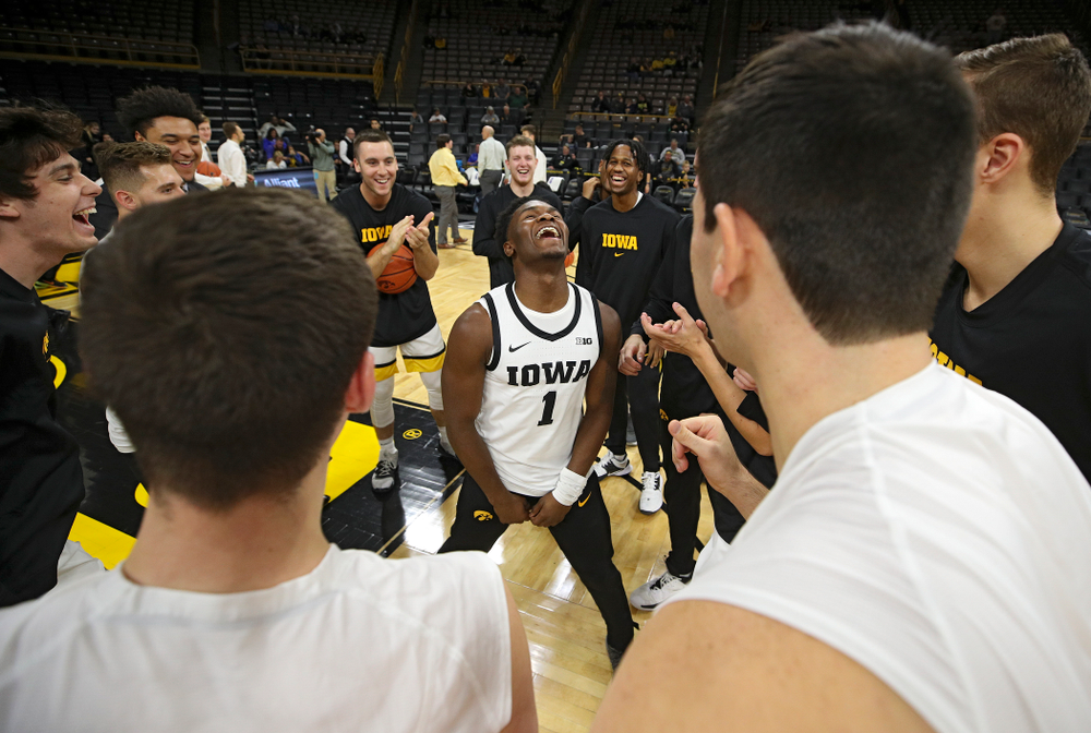 Iowa Hawkeyes guard Joe Toussaint (1) dances in his team's huddle before their exhibition game against Lindsey Wilson College at Carver-Hawkeye Arena in Iowa City on Monday, Nov 4, 2019. (Stephen Mally/hawkeyesports.com)