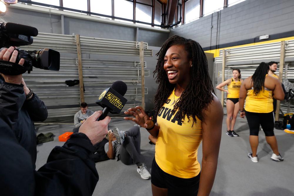 Jahisha Thomas during the team's media day Wednesday, January 10, 2018 at the indoor track in the Recreation Building. (Brian Ray/hawkeyesports.com)