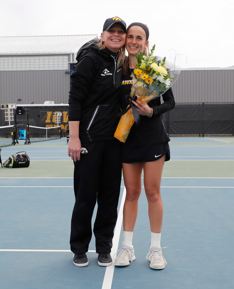 Iowa's Adrienne Jensen during Senior Day activities before their match against the Wisconsin Badgers Sunday, April 22, 2018 at the Hawkeye Tennis and Recreation Center. (Brian Ray/hawkeyesports.com)