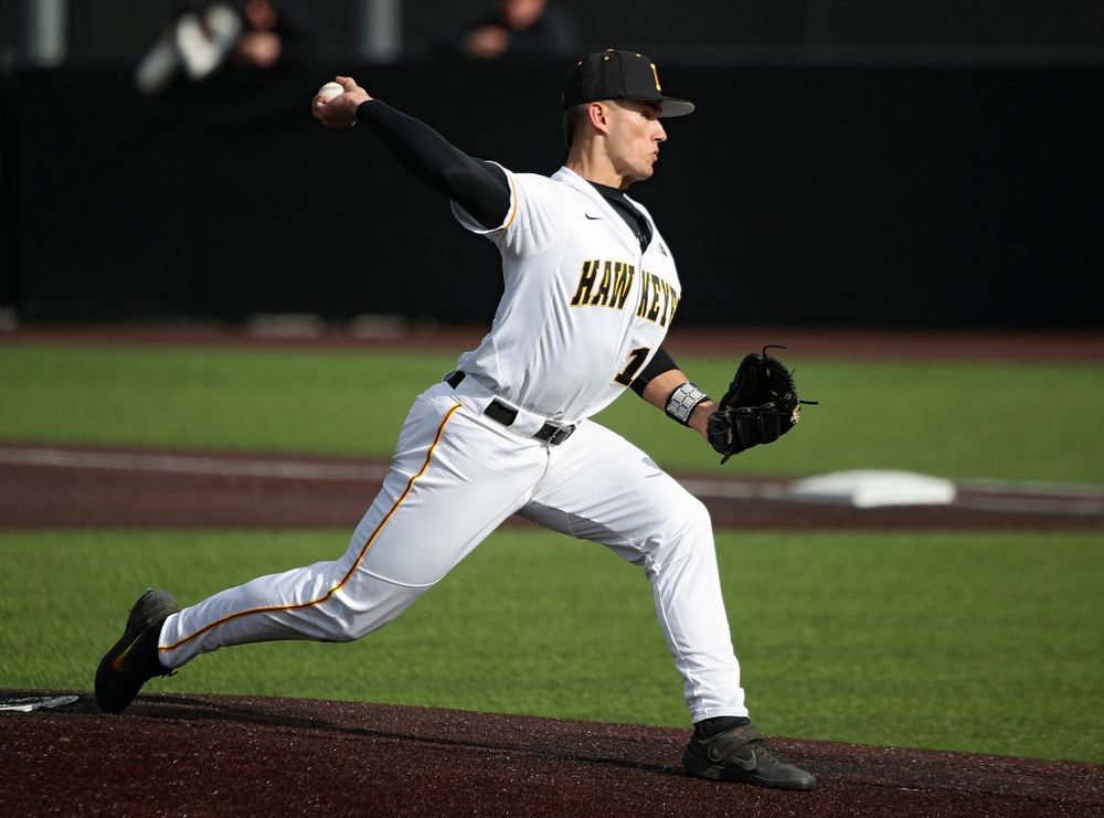 Iowa pitcher Dylan Nedved (17) delivers to the plate during the eighth inning of their college baseball game at Duane Banks Field in Iowa City on Wednesday, March 11, 2020. (Stephen Mally/hawkeyesports.com)