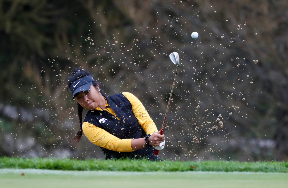 Iowa's Rachel Fujitani pitches out of a bunker during the Diane Thomason Invitational at Finkbine Golf Course on September 29, 2018. (Tork Mason/hawkeyesports.com)
