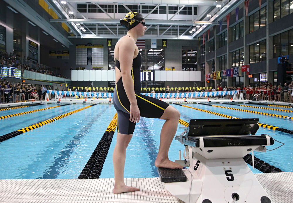 Iowa's Kelsey Drake waits to swim the women's 200 yard butterfly consolation final event during the 2020 Women's Big Ten Swimming and Diving Championships at the Campus Recreation and Wellness Center in Iowa City on Saturday, February 22, 2020. (Stephen Mally/hawkeyesports.com)