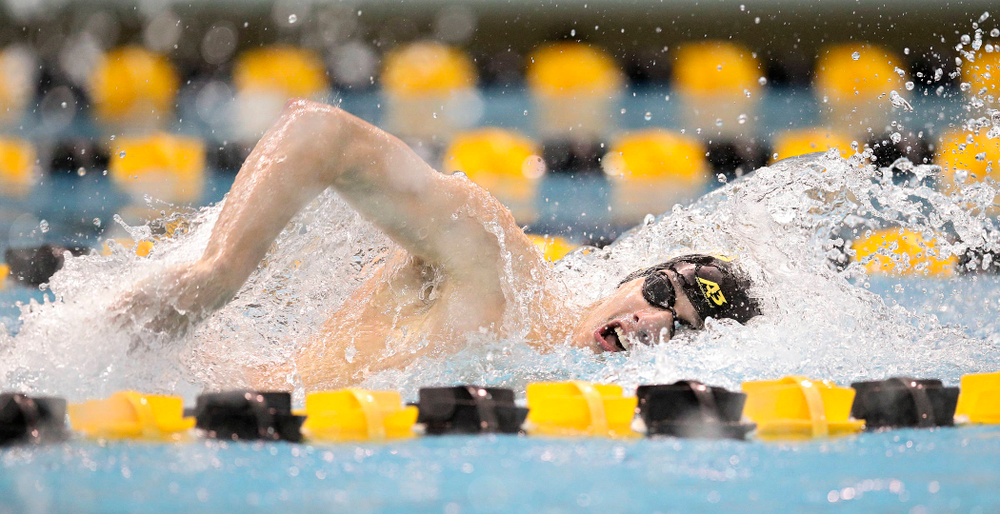 Iowa's Will Scott swims the freestyle section in the men's 400 yard medley relay event during their meet at the Campus Recreation and Wellness Center in Iowa City on Friday, February 7, 2020. (Stephen Mally/hawkeyesports.com)