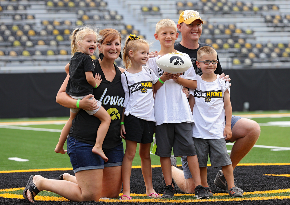 Junior Hawk Club members participate in the Swarm Experience during Kids Day at Kinnick Stadium in Iowa City on Saturday, Aug 10, 2019. (Stephen Mally/hawkeyesports.com)