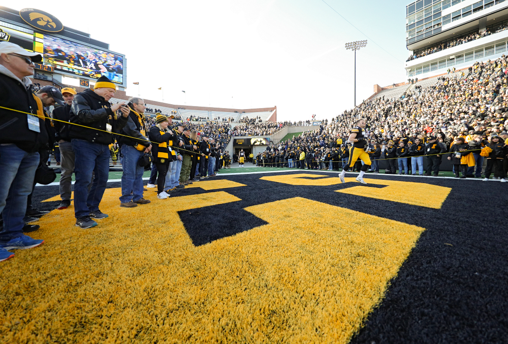 Iowa Hawkeyes linebacker Kristian Welch (34) is acknowledged on senior day before their game at Kinnick Stadium in Iowa City on Saturday, Nov 23, 2019. (Stephen Mally/hawkeyesports.com)