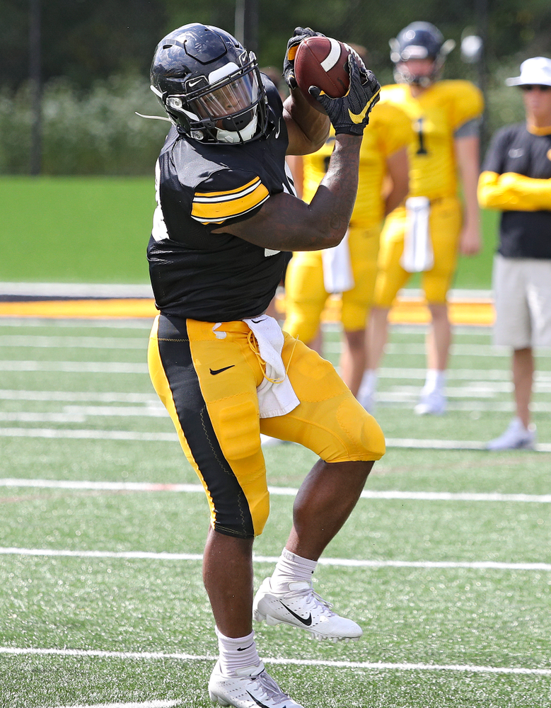 Iowa Hawkeyes running back Mekhi Sargent (10) pulls in a pass during Fall Camp Practice No. 11 at the Hansen Football Performance Center in Iowa City on Wednesday, Aug 14, 2019. (Stephen Mally/hawkeyesports.com)