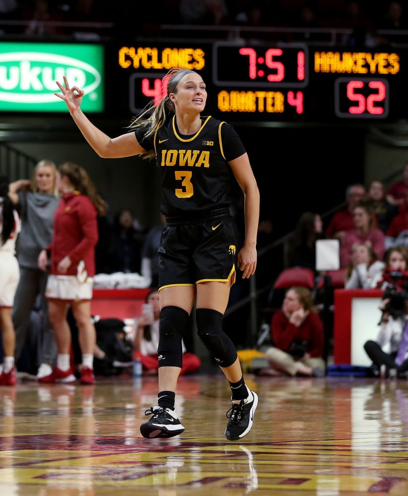 Iowa Hawkeyes guard Makenzie Meyer (3) against the Iowa State Cyclones Wednesday, December 11, 2019 at Hilton Coliseum in Ames, Iowa(Brian Ray/hawkeyesports.com)