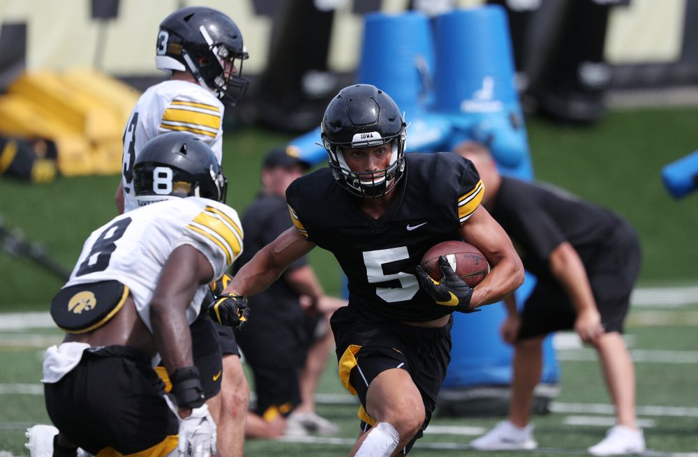 Iowa Hawkeyes wide receiver Oliver Martin (5) during Fall Camp Practice No. 4 Monday, August 5, 2019 at the Ronald D. and Margaret L. Kenyon Football Practice Facility. (Brian Ray/hawkeyesports.com)