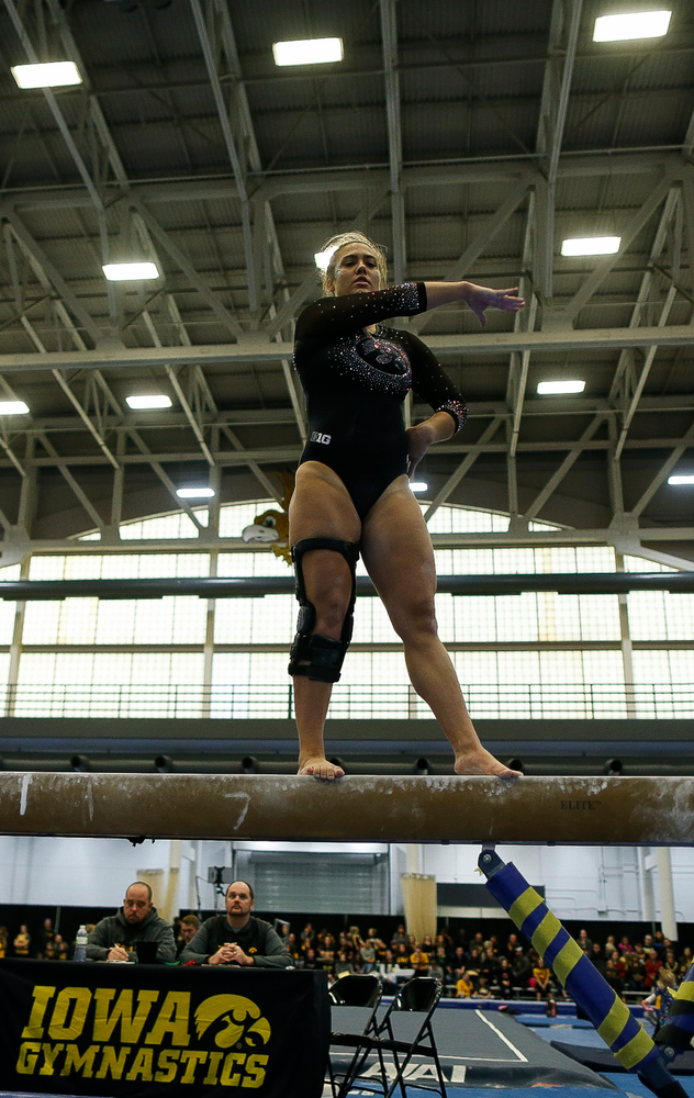 Rose Piorkowski competes on the balance beam during the Black and Gold Intrasquad meet at the Field House on 12/2/17. (Tork Mason/hawkeyesports.com)