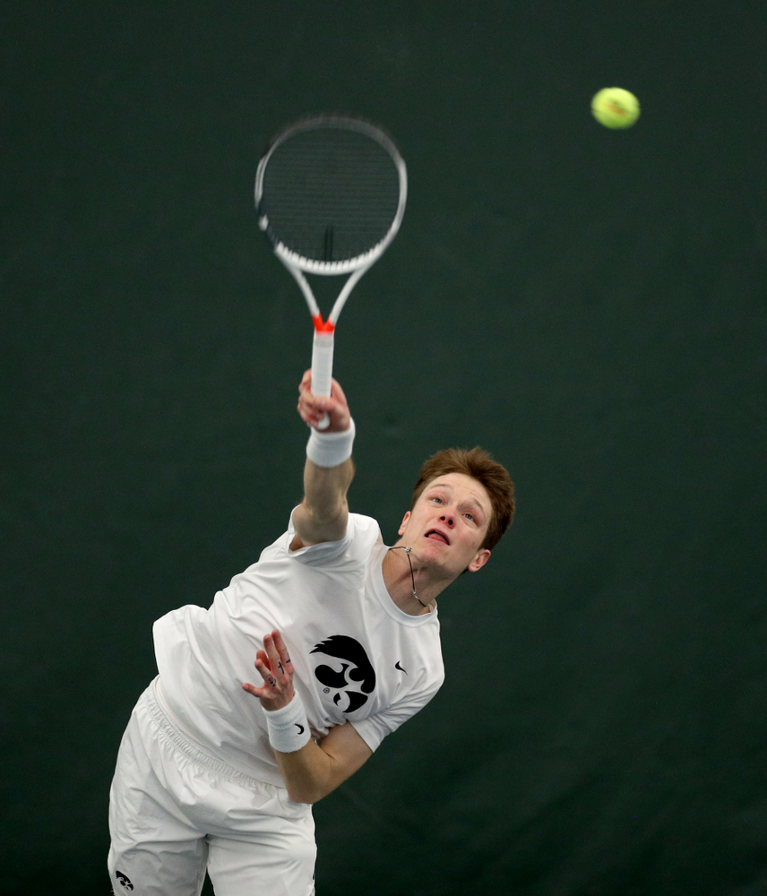 Iowa's Jason Kerst against Cornell Sunday, March 8, 2020 at the Hawkeye Tennis and Recreation Center. (Brian Ray/hawkeyesports.com)