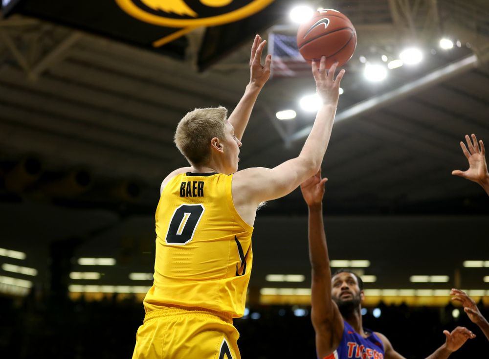 Iowa Hawkeyes forward Michael Baer (0) against the Savannah State Tigers Saturday, December 22, 2018 at Carver-Hawkeye Arena. (Brian Ray/hawkeyesports.com)