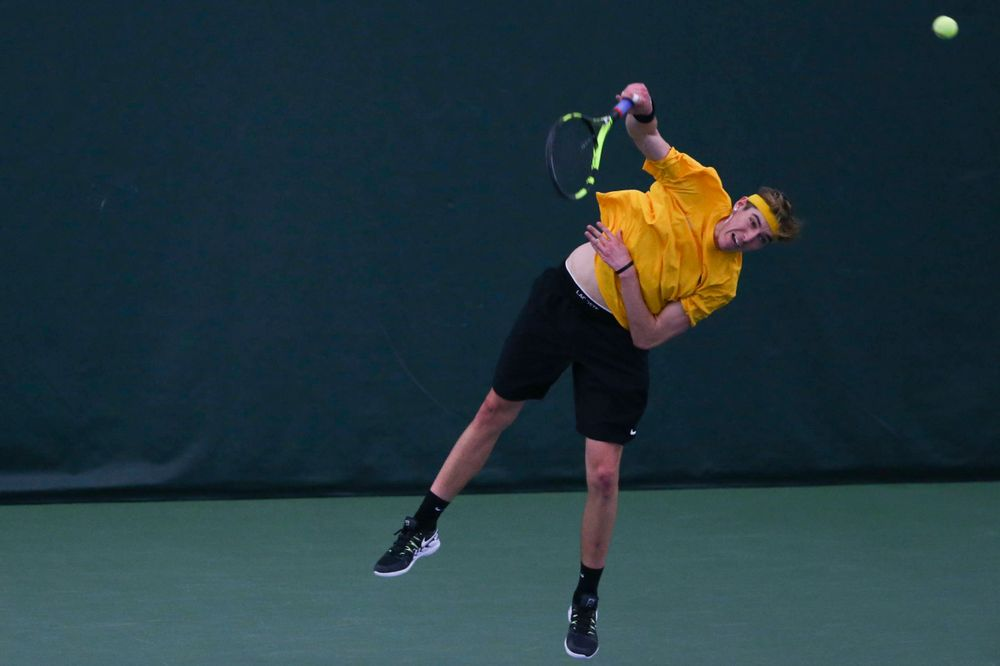 Iowa's Nikita Snezhko at a tennis match vs Drake  Friday, March 8, 2019 at the Hawkeye Tennis and Recreation Complex. (Lily Smith/hawkeyesports.com)