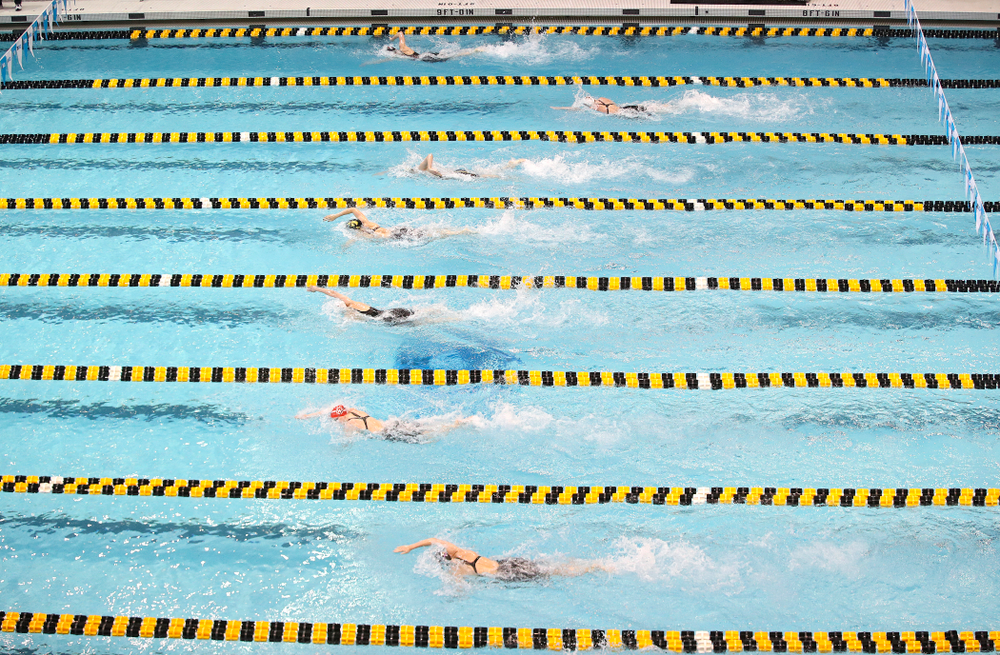 Iowa's Allyssa Fluit (lane 3) and Hannah Burvill (lane 4) swim the women's 200 yard freestyle preliminary event during the 2020 Women's Big Ten Swimming and Diving Championships at the Campus Recreation and Wellness Center in Iowa City on Friday, February 21, 2020. (Stephen Mally/hawkeyesports.com)
