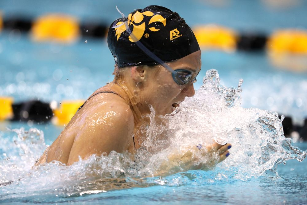 Iowa's Devin Jacobs swims the 100 yard breaststroke during a double dual against Wisconsin and Northwestern Saturday, January 19, 2019 at the Campus Recreation and Wellness Center. (Brian Ray/hawkeyesports.com)