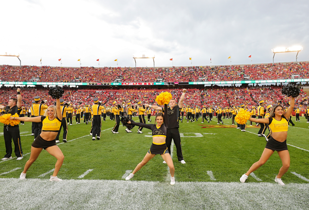 Iowa Spirit Squad members perform before the Iowa Corn Cy-Hawk Series game at Jack Trice Stadium in Ames on Saturday, Sep 14, 2019. (Stephen Mally/hawkeyesports.com)
