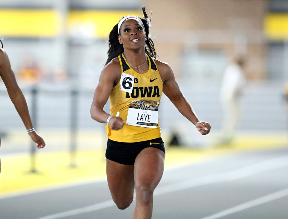 Iowa's Jada Laye runs the women's 60 meter dash premier preliminary event during the Larry Wieczorek Invitational at the Recreation Building in Iowa City on Saturday, January 18, 2020. (Stephen Mally/hawkeyesports.com)