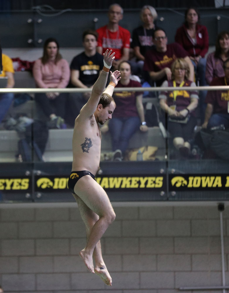 Iowa's Anton Hoherz competes on the 1-meter springboard during the 2019 Big Ten Swimming and Diving Championships Thursday, February 28, 2019 at the Campus Wellness and Recreation Center. (Brian Ray/hawkeyesports.com)