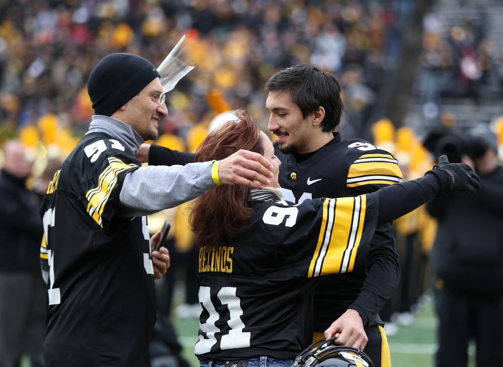 Iowa Hawkeyes place kicker Miguel Recinos (91) during senior day activities before their game against the Nebraska Cornhuskers Friday, November 23, 2018 at Kinnick Stadium. (Brian Ray/hawkeyesports.com)