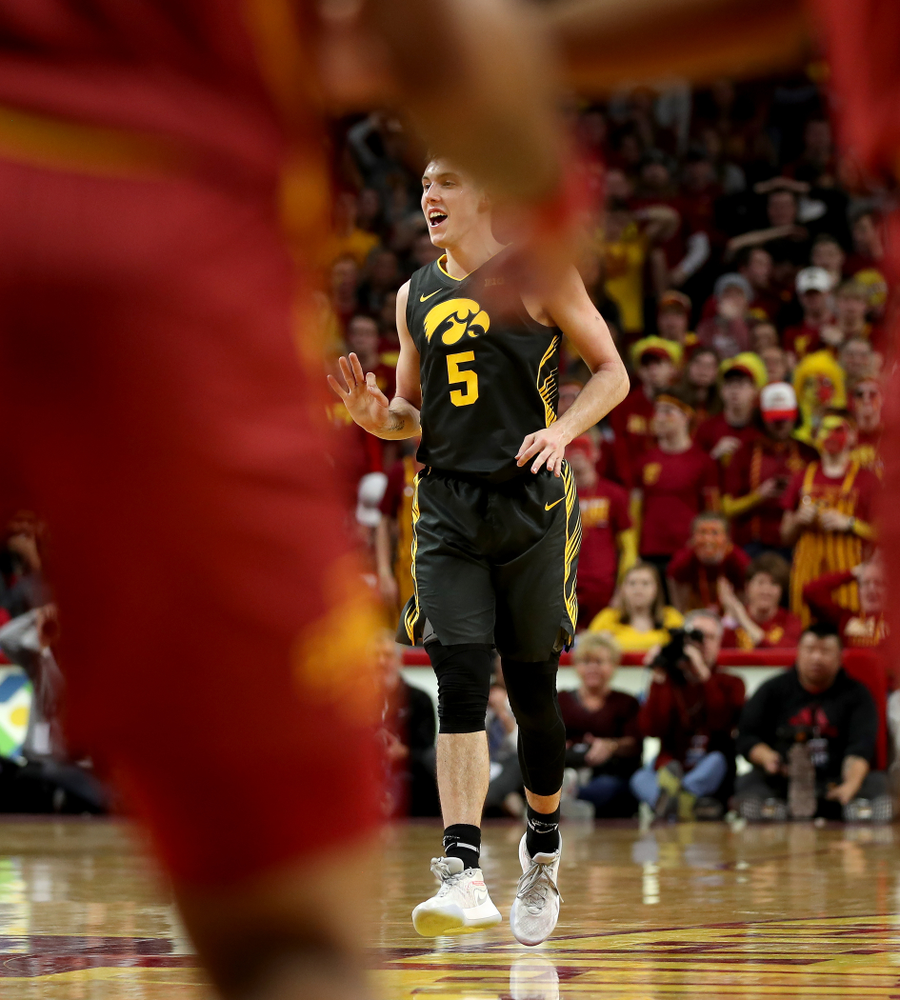 Iowa Hawkeyes guard CJ Fredrick (5) celebrates a three point basket against the Iowa State Cyclones Thursday, December 12, 2019 at Hilton Coliseum in Ames, Iowa(Brian Ray/hawkeyesports.com)