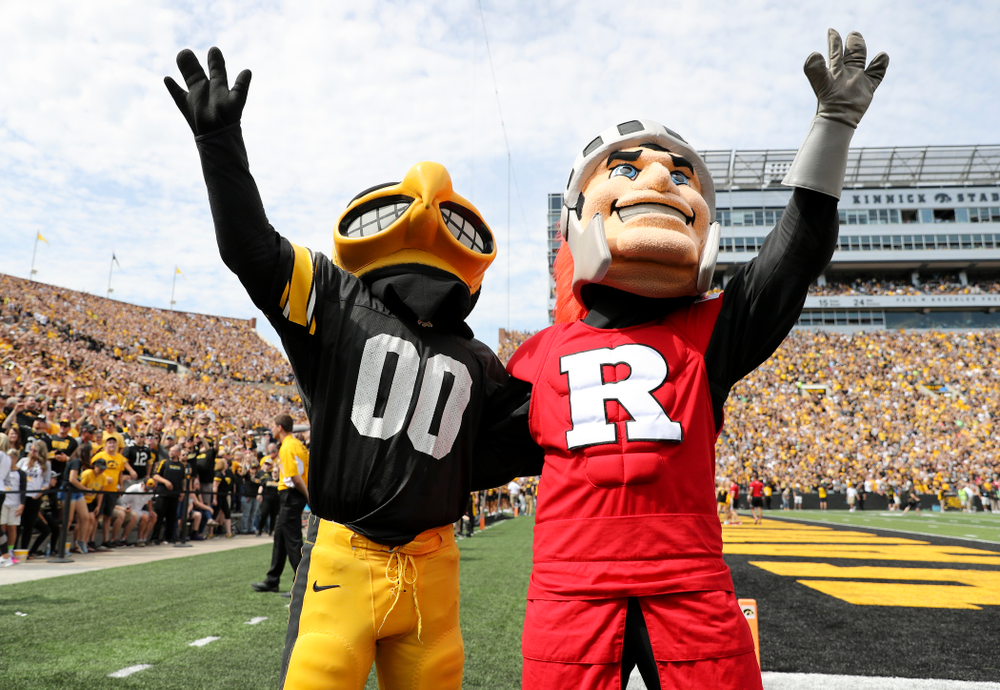 Herky and Scarlet Knight wave to the University of Iowa Stead Family Children's Hospital between the first and second quarter of their Big Ten Conference football game at Kinnick Stadium in Iowa City on Saturday, Sep 7, 2019. (Stephen Mally/hawkeyesports.com)