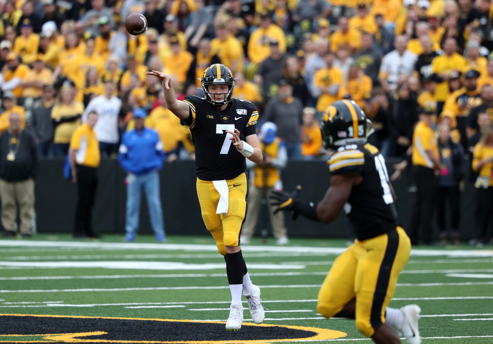 Iowa Hawkeyes quarterback Spencer Petras (7) against Middle Tennessee State Saturday, September 28, 2019 at Kinnick Stadium. (Brian Ray/hawkeyesports.com)