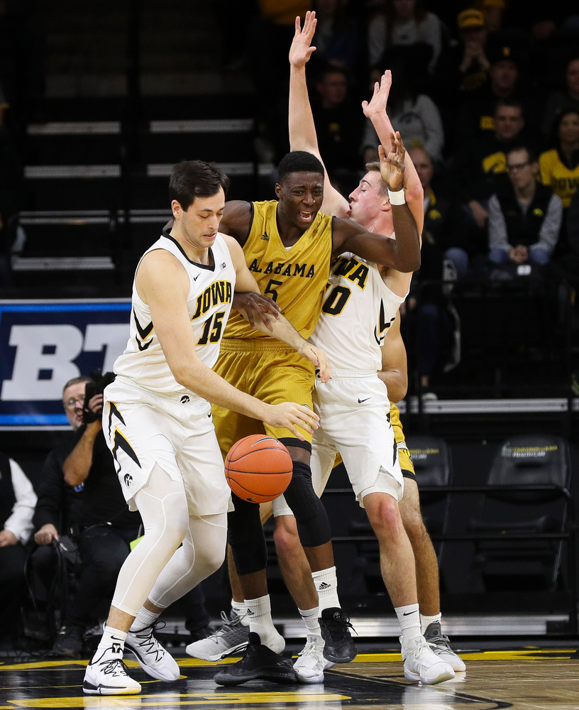 Iowa Hawkeyes forward Ryan Kriener (15) grabs a rebound during a game against Alabama State at Carver-Hawkeye Arena on November 21, 2018. (Tork Mason/hawkeyesports.com)