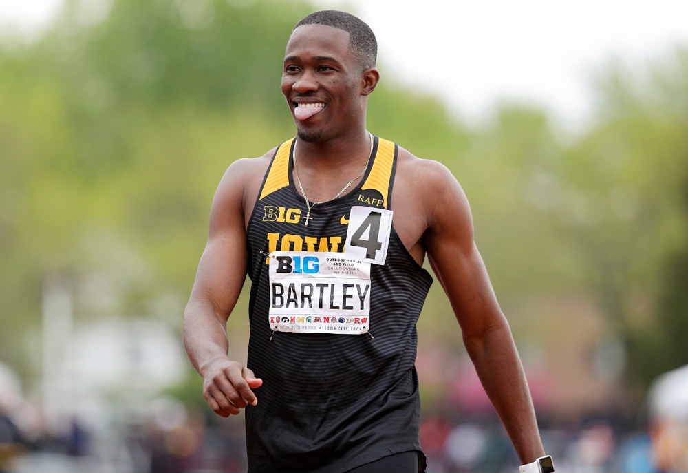 Iowa's Karayme Bartley sticks out his tongue after winning his heat of the men's 400 meter dash event on the second day of the Big Ten Outdoor Track and Field Championships at Francis X. Cretzmeyer Track in Iowa City on Saturday, May. 11, 2019. (Stephen Mally/hawkeyesports.com)
