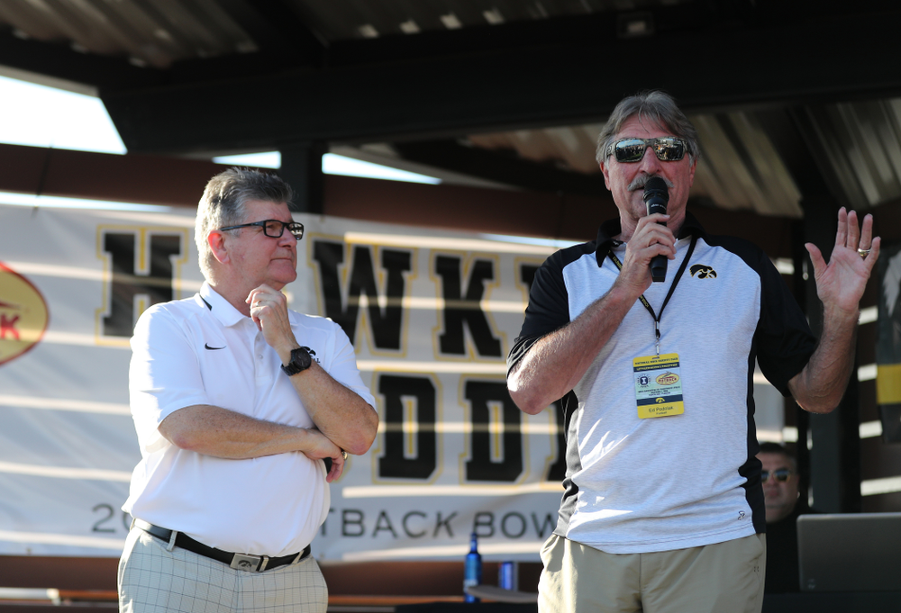 Hawkeye Football Radio team Gary Dolphin and Ed Podolak break down the game during the Hawkeye Huddle Monday, December 31, 2018 at Sparkman Wharf in Tampa, FL. (Brian Ray/hawkeyesports.com)
