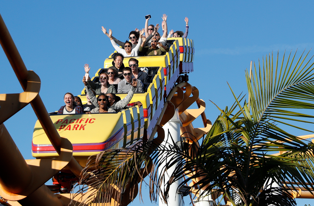 Members of the Iowa Women's Basketball Team ride the roller coaster in Pacific Park on the Santa Monica Pier Thursday, March 15, 2018 in Santa Monica. (Brian Ray/hawkeyesports.com)