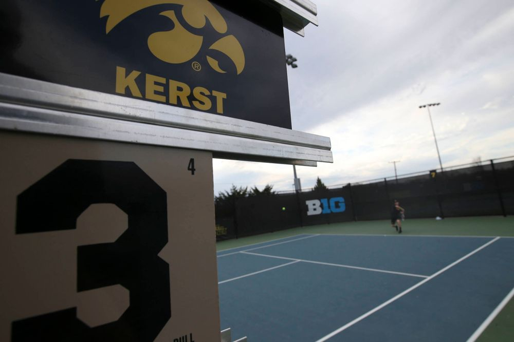 IowaÕs Jason Kerst at tennis vs Illinois State on Sunday, April 21, 2019 at the Hawkeye Tennis and Recreation Complex. (Lily Smith/hawkeyesports.com)