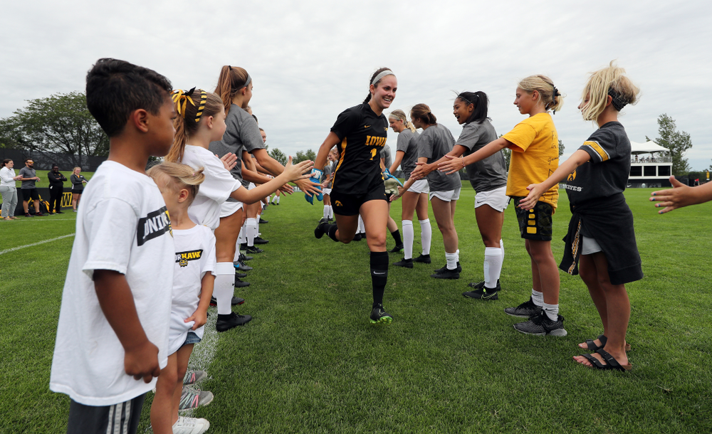 Iowa Hawkeyes goalkeeper Claire Graves (1) during a 6-1 win over Northern Iowa Sunday, August 25, 2019 at the Iowa Soccer Complex. (Brian Ray/hawkeyesports.com)