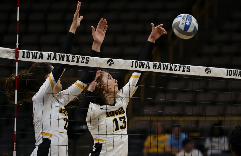 Iowa Hawkeyes middle blocker Sara Wing (13)