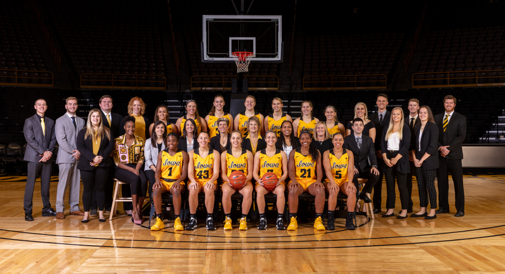 The 2019-2020 Iowa WomenÕs Basketball team, coaches, and staff Thursday, October 24, 2019 at Carver-Hawkeye Arena. (Brian Ray/hawkeyesports.com)