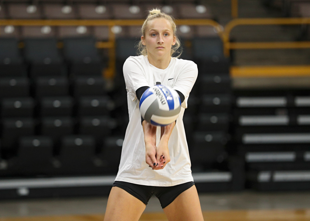 Iowa's Kyndra Hansen (8) during Iowa Volleyball's Media Day at Carver-Hawkeye Arena in Iowa City on Friday, Aug 23, 2019. (Stephen Mally/hawkeyesports.com)