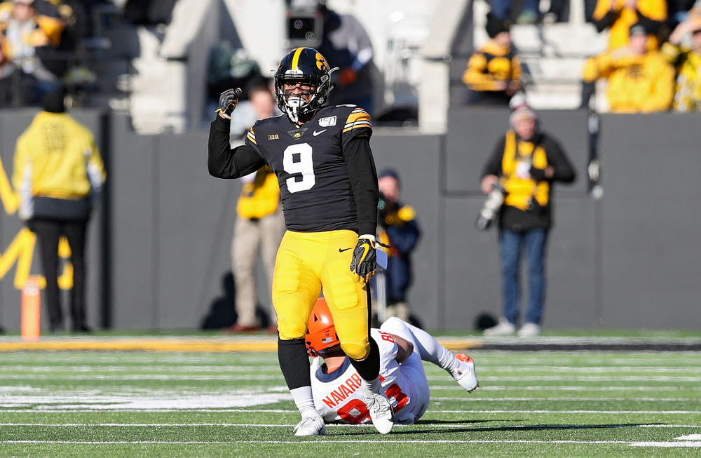 Iowa Hawkeyes defensive back Geno Stone (9) celebrates after a tackle during the third quarter of their game at Kinnick Stadium in Iowa City on Saturday, Nov 23, 2019. (Stephen Mally/hawkeyesports.com)