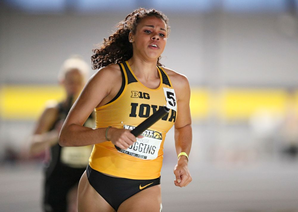 Iowa's Dallyssa Huggins runs the women's 1600 meter relay event during the Hawkeye Invitational at the Recreation Building in Iowa City on Saturday, January 11, 2020. (Stephen Mally/hawkeyesports.com)