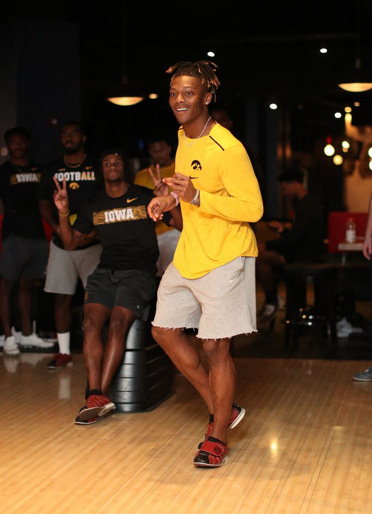 Iowa Hawkeyes wide receiver Brandon Smith (12) during the Players' Night at Splitsville Friday, December 28, 2018 in the Sparkman Wharf area of Tampa, FL.(Brian Ray/hawkeyesports.com)