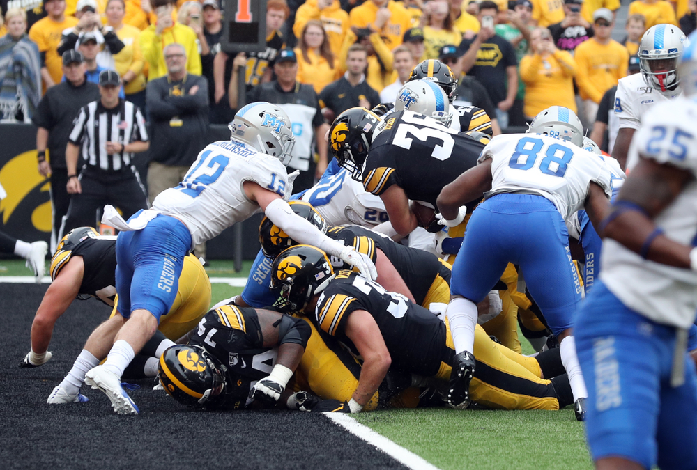 Iowa Hawkeyes fullback Brady Ross (36) scores a touchdown against Middle Tennessee State Saturday, September 28, 2019 at Kinnick Stadium. (Brian Ray/hawkeyesports.com)